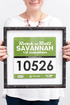 Frame your race bibs and medals to show off at home, and get motivated for the next one!