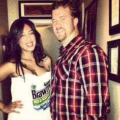 The Brawny Man with his roll of paper towels. | 50 Couple Costume Ideas To Steal This Halloween