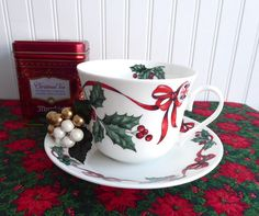 Christmas Ribbons Breakfast Size Cup And Saucer Roy Kirkham Holly Red Ribbons Bone China #christmasttea #gotvintage