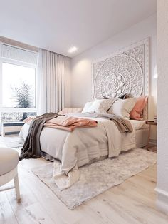 Classy Schlafzimmer Wand-Dekor-Ideen, um Ihren Raum Stil Pure White Grand Mandala Headboard, Classy Bedroom Wall Decor Ideas to fit your room style Home Decor Bedroom, Modern Bedroom, Bedroom Wall, Girls Bedroom, Bedroom Furniture, Cozy Bedroom, Bed Room, Master Bedrooms, Bedroom Themes