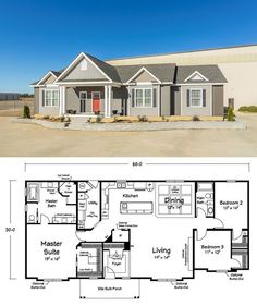 Idea layout for the barn house, although it's too small and kitchen is not at the front like I want, it's something to work with. Amazing floor plan -- walk-in closets in every room!