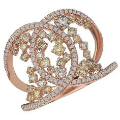 Stunning 14k rose gold white and yellow diamond X fashion ring. #14krosegold #diamonds #yellowdiamonds #diamondring #fashionista #dazzling #buyatgarysjewelry #jewelrybygary #diamondsareagirlsbestfriend #blingbling #coloreddiamonds #xfashionring #diva #highclass  #fashion #imworthit #somethingsparkly #forsomeonespecial #classy