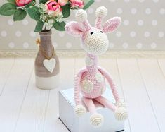 Baby & kids toys and crochet tutorials. by KidsJoyDesigns on Etsy Baby Toys, Kids Toys, Cute Giraffe, Doll Toys, Dolls, Etsy Crafts, Girl Gifts, Crochet Toys, Baby Shower Gifts