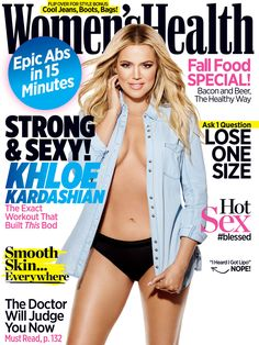 Khloé Kardashian Looks Fit and Fabulous on Women's Health's September Cover. #womenshealth #fitness #workouts