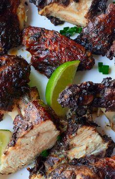 Jamaican Jerk Chicken (Air Fryer, Oven, or Grill) - My Forking Life Jerk Chicken Recipe Oven, Jamaican Jerk Pork Recipe, Authentic Jamaican Jerk Chicken, Jerk Chicken Marinade, Baked Jerk Chicken, Jerk Recipe, Jerk Chicken Wings, Oven Chicken, Jamaican Recipes