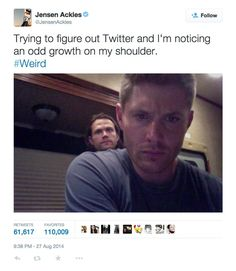"""Pin for Later: 24 Jensen Ackles Tweets That Will Instantly Brighten Your Day When He Talked About His """"Odd Growth"""""""
