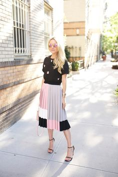 statement top with accordion skirt