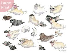 Pug Heaven Large Pug Art Print A flying pugs grumble is by InkPug