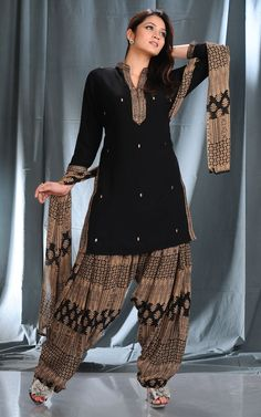 Black Cotton Patiala Salwar Kameez