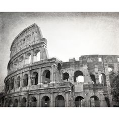 Colosseum, Rome Photography, Black and White Photography, Roman Ruins,... ($18) ❤ liked on Polyvore featuring home, home decor, wall art, black white wall art, black and white home accessories, european home decor, horizontal wall art and parisian home decor