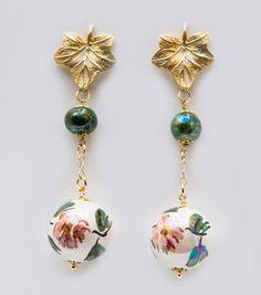 Orecchini primavera - perle in ceramica di Caltagirone.