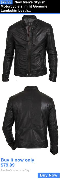 Men Coats And Jackets: New Mens Stylish Motorcycle Slim Fit Genuine Lambskin Leather Biker Jacket BUY IT NOW ONLY: $79.99