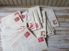 Vintage Used Envelopes , 129 Old Stamped Envelopes , Handwritten Addressed Envelopes , Old Business Mail Paper Ephemera Craft Collages