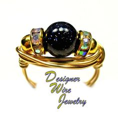 Gorgeous Blue Sandstone Solitaire Artisan Gold Tone Wire Wrap Ring All Sizes
