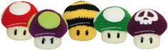 Tutorial: honguitos de videojuegos tejidos en la técnica del amigurumi (crochet)!!
