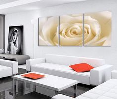 3 Piece Painting Romantic Canvas White Rose flower Oil Painting Large Wall Art Pictures For Living Room Print On Canvas HD Print #Affiliate