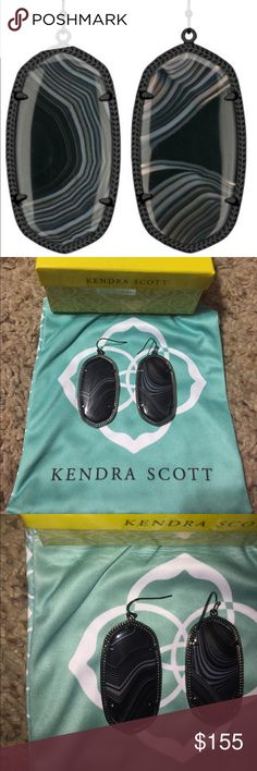 RARE Kendra Scott black banded agate Danielle Perfect condition Kendra Scott black banded agate in gun metal Danielle earrings! Comes as is with blue ks bag. Stunning white bands in these black stones. Just plain gorgeous. Kendra Scott Jewelry Earrings