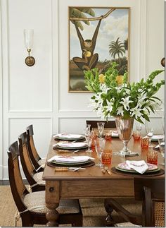 Teak And Cane Chairs Surround An Old Harvest Table In This Old Meets New Dining  Room   Traditional Home® / Photo: Tria Giovan / Design: Ken Gemes