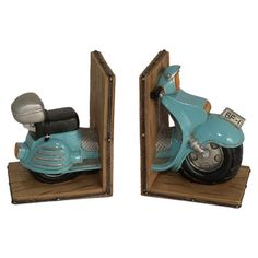 Bookend with a scooter-inspired design.    Product: Set of 2 bookendsConstruction Material: ResinColor: