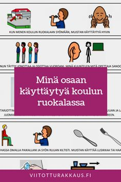 Minä osaan käyttäytyä koulun ruokalassa Things To Do, Education, Kids, Adhd, Things To Make, Children, Boys, Educational Illustrations, Learning