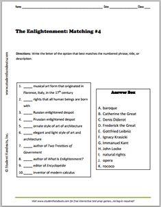 Printables Enlightenment Worksheet enlightenment essays 1 free to print pdf grades 9 12 define matching 4 12