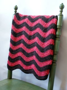 striped crochet blanket with light grey and pink