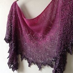This delicate and dramatic lace shawl is a wide and shallow crescent that gets more heavily beaded as you progress through the pattern and your shawl is finished with a finale of a dramatic and exciting lace edge. Shawl Patterns, Knitting Patterns, Crochet Patterns, Lace Knitting Stitches, Hand Knitting, Knit Or Crochet, Crochet Shawl, Knit Lace, Knitted Shawls