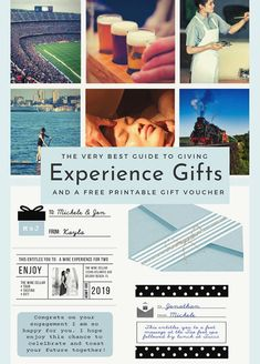 A simple guide to Experience Gifts with a list of over 75 ideas and information needed to give meaningful gifts to everyone. Gift Certificate Template, Gift Certificates, Congrats On Your Engagement, Design Basics, Fishing Charters, Experience Gifts, Local Attractions, Gift Vouchers, Meaningful Gifts