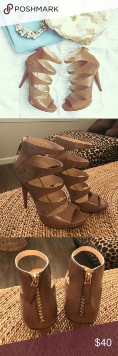 """NWOT Nine West Strappy Heels 4"""" heel with alternating leather and soft suede straps. Perfect camel color. Sandals have never been worn. Nine West Shoes Heels"""
