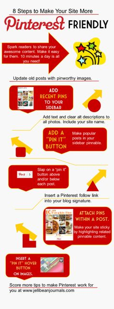 8 Ways to Make Your Site PInterest-Friendly #pinterest #blogtips| JellibeanJournals.com
