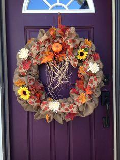Handmade fall themed burlap wreath. ~By me~