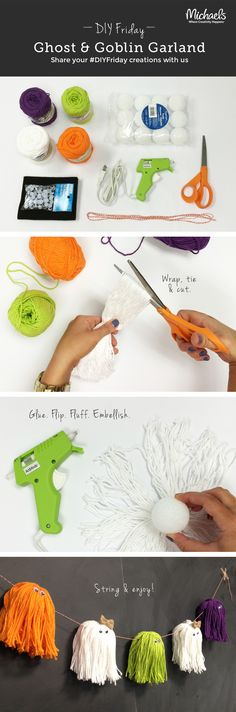 Try as they may, these ghosts & goblins are too cute to scare us! Check out this easy way to use yarn in your Halloween décor! #DIYFriday