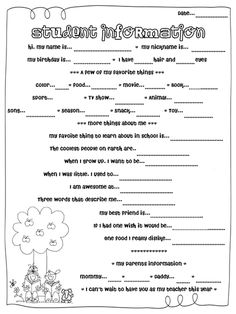 I think it is very important to pass out an information sheet on the first day of school. I would use this information sheet in many different ways. I would use it to get to know my students and to put them into groups to get to know each other.