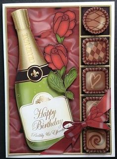 Card Gallery - A5 Birthday Champers Chocs n Roses 3D decoupage