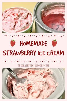 Thick, cold and creamy homemade strawberry ice cream is packed with fresh strawberries and is the perfect dessert treat, any time of year! via cream recipes Homemade Strawberry Ice Cream / The Grateful Girl Cooks! Helado Keto, Keto Eis, Keto Ice Cream, Banana Ice Cream, Light Ice Cream Recipe, Fruit Ice Cream, Diy Ice Cream, Cuisinart Ice Cream Recipes, Kitchen Aid Ice Cream