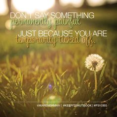 """Don't say something permanently painful just because you are temporarily ticked off."" - Karen Ehman, #KeepItShutBook chapter 2 #P31OBS"