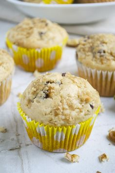 Peanut Butter Chocolate Chip Banana Muffins with Walnuts - Stuck On Sweet