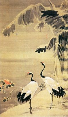 Symbolism and the Crane in East Asia - China : Chinese Brush Painting of Red-Crowned Cranes