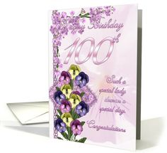 100th Birthday Card For A Special Lady card (525756)