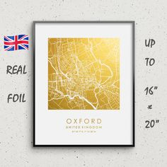 OXFORD CITY MAP POSTER PRINT MODERN CONTEMPORARY CITIES TRAVEL IKEA FRAMES