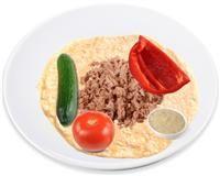 Great alternative to burrito! Wholegrain wrap with tuna, salad and tahini