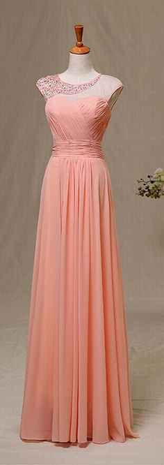Handmade Coral Chiffon Round Neckline A Line Floor Length Prom Dresses With Beadings Coral Chiffon Prom Dresses Prom Dresses  Evening Gown