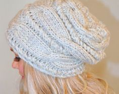 Slouchy Hat Slouchy Beanie Cable Hand Knit Winter от lucymir