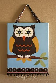 Owl canvas/ modge podge and fabric