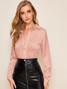 Solid Button Front Satin Blouse Check out this Solid Button Front Satin Blouse on Shein and explore more to meet your fashion needs!