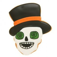 Top Hat Skull Cookie. Get yours from Eleni's New York, Find out more at our web site for candies, chocolates & cookies OR visit our HALLOWEEN ideas page at: http://www.allaboutcuisines.com/halloween #Halloween Ideas #Cookies