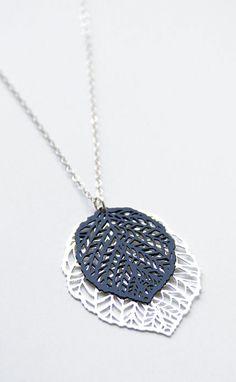 Double leaf pendant black silver pendant chain