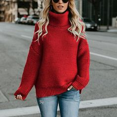 Winter Women Turtleneck Sweater Plus Size Casual Loose Long Sleeve Warm Sweater Warm Women Knitting Pullover red XL Winter Sweaters, Long Sweaters, Pullover Sweaters, Oversized Sweaters, Cute Sweaters For Fall, Winter Sweater Outfits, Spring Outfits, Jumpers For Women, Sweaters For Women