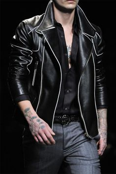 Black leather, white outlines