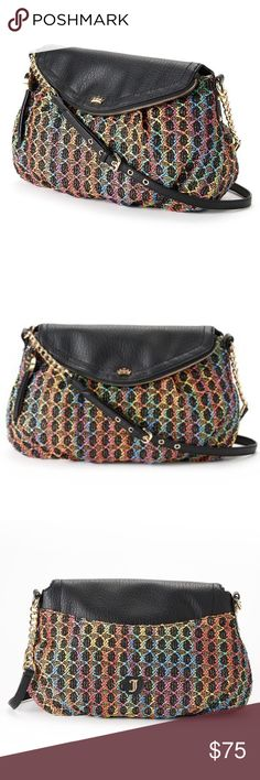 JUICY COUTURE RAINBOW METALLIC CROSSBODY BAG Throw this stylish Juicy Couture Lurex rainbow crossbody over your shoulder for a fashionable look and iconic flair. In black & rainbow multi.  PRODUCT FEATURES Rainbow woven design Lurex details Gold-tone hardware PRODUCT DETAILS 9''H x 14.5''W x 4.6''D Approx. drop down length: 23'' Adjustable crossbody strap Fold-over snap closure Exterior: 2 slip pockets & 2 slip pockets Fabric/faux leather Faux leather Juicy Couture Bags Crossbody Bags